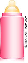 illustration of pink baby bottle