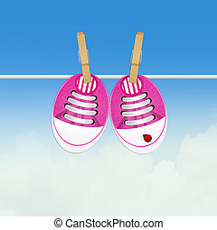 pink baby shoes - illustration of pink baby shoes