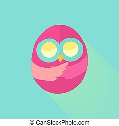 Pink flat owl over mint