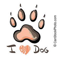 Illustration of pink paw print with I love Dog text isolated on white background. Clip-art, Illustration.