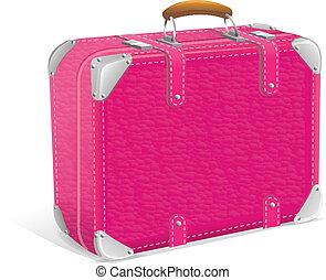 illustration of pink trawel suitcase