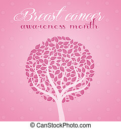illustration of Pink tree for breast cancer prevention