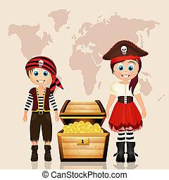 pirate child and treasure hunt - illustration of pirate...