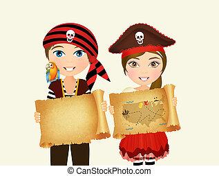 pirate children with treasure map