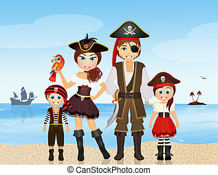 pirate family on the island