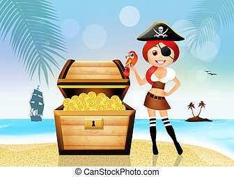 pirate girl with treasure chest
