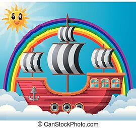 pirate ship in the sky illustration
