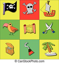 Illustration of pirate symbols with skull, ship, treasure, flag, parrot and swords