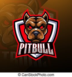 Pitbull Head esport Mascot Logo