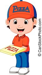 pizza delivery man cartoon