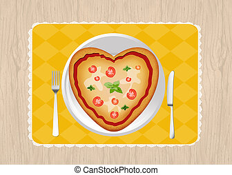 pizza in a heart shape