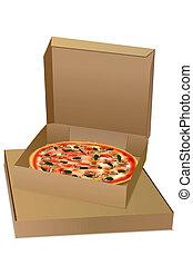 pizza  - illustration of pizza on white background