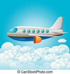 plane on a blue sky background