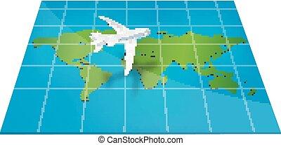Plane the world map