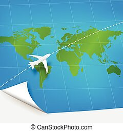 Plane the world map with concept of