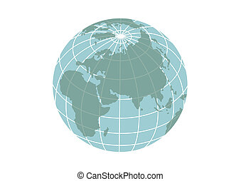 Illustration of planet Earth icon isolated on a white background.
