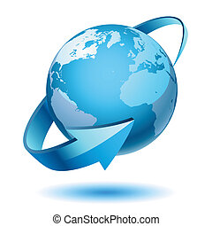 Illustration of planet earth, isolated on white background. Design elements, cycle. Vector.