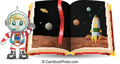 planet scenery in the book and kid wearing a costume astronaut