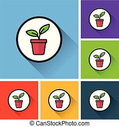 plant icons with long shadow