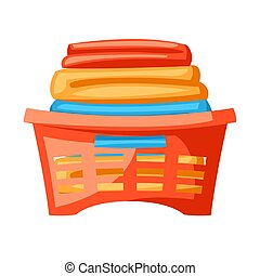 Illustration of plastic basket with clothes.