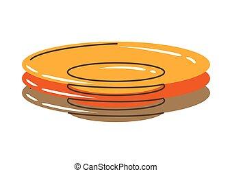 Illustration of plates stack. Stylized kitchen and restaurant utensil.