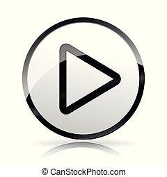 play icon on white background