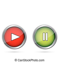 illustration of play push buttons on isolated background