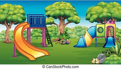 Illustration of playground in the garden