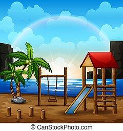 Illustration of playground on the beach