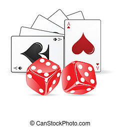 illustration of playing card with dice on white background