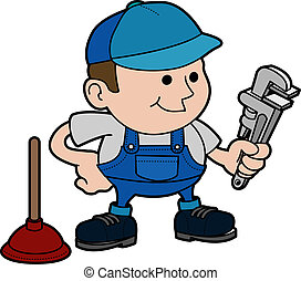 Illustration of plumber - Illustration of male plumber with...