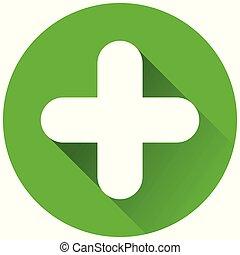 plus circle green icon concept