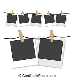 Illustration of polaroid photographs hung with wooden hangers, vector illustration