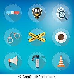 Police Sequrity Flat Vector Icon Set. Include road cone, barricade tape, police badge, car alarm, fingerprint etc.