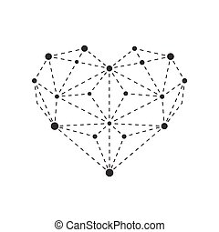 Illustration of polygonal heart outline
