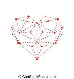 Illustration of polygonal red heart outline