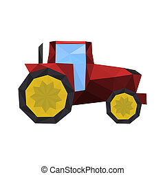 Illustration of polygonal red tractor