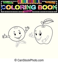 pomegranate and apple with face coloring book