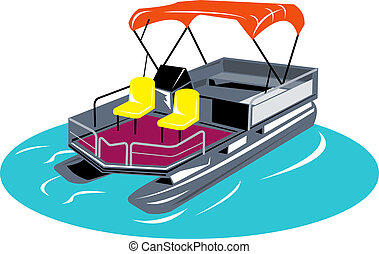 Illustration of pontoon boat rear view in blue circle on white background woodcut and retro style