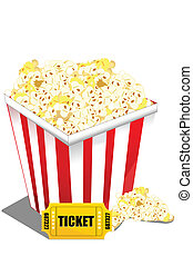 pop corn with ticket - illustration of pop corn with ticket...