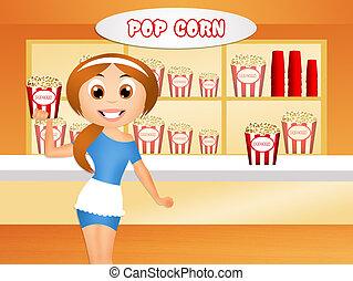 popcorn shop - illustration of popcorn shop