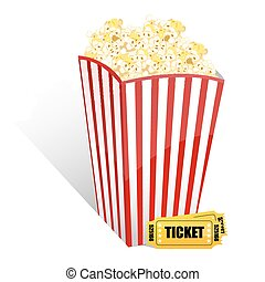illustration of popcorn with movie tickets on white background