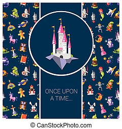 Illustration of postcard with fairy tales flat design magic...
