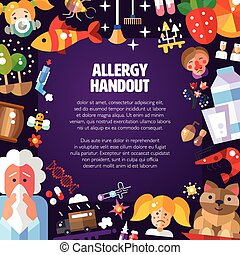 Illustration of poster with flat design allergen icons and...