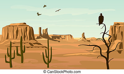 Illustration of prairie wild west. - Horizontal cartoon...
