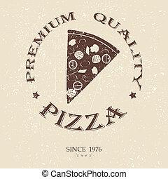 illustration of premium pizza vintage label stamp banner design element.