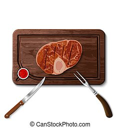 beef steak on cutting board - illustration of prepared ...
