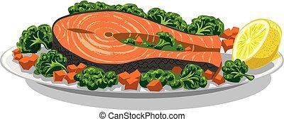 prepared salmon with lemon