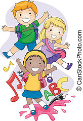 Preschool Kids - Illustration of Preschool Kids Playing