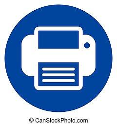 printer blue circle icon